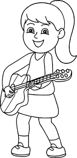 Girl Playing Guitar The Coloring Page