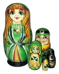 100 Matryoshka Kitchen 5 Piece Russian Nesting Doll Irish Princess Set