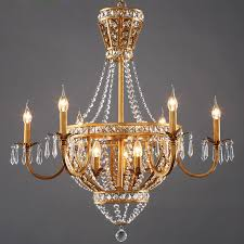 Chandelier Charming Country French Chandeliers Antique Gold With Crystal And 8 Light