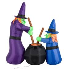 Halloween Witch Yard Stakes by 6ft Halloween Inflatable Airblown Bubble Witches W Cauldron