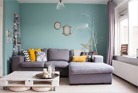 lovely living room interior desig with blue wall paint color and l