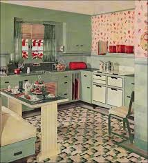 Retro Kitchen Decoration Using Shabby Chic Colourful Wallpaper Including Light Blue Wood