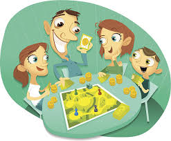 Family Playing Board Game Videos Coin Quest Vector Art Illustration