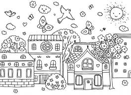Village Coloring Pages 3 Spring Season At Page