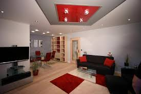 Red Grey And Black Living Room Ideas by Red And Black Living Room With Red And Grey Modern Ceiling Design