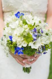 Bridal Bouquet Green White Blue Knoxville TN Greek Wedding
