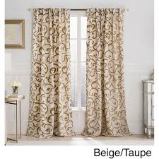 Fingerhut Curtains And Drapes by Vcny Brandy Flocked 84 Inch Back Tab Blackout Curtain Panel