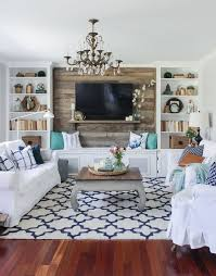 cozy spring home tour blue white and aqua living room with