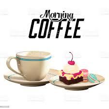 morgen kaffee heißer kaffeekuchenweißen hintergrundvektorbild stock vektor und mehr bilder bäckerei