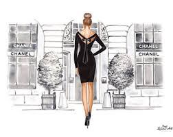Chanel Fashion Wall Art Sketch Print Paris Custom Illustration