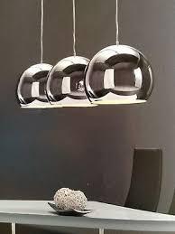 design pendelleuchte hängeleuchte 3 x grosse silberkugel
