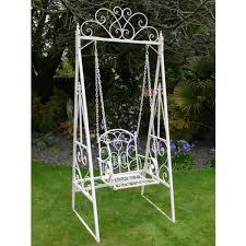 Barrel Garden Traditional Metal Swing Chair Cream