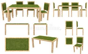 Download Wooden Table And Chairs With Grass Cover Garden Furniture Top View Side