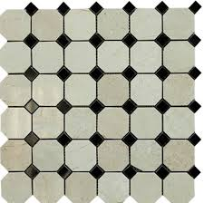 Octagon Crema Marfil Polished Marble With Black Dot Mosaic Tile