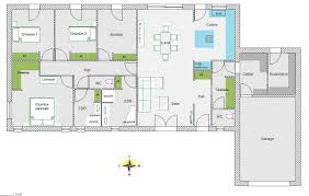 plan maison plain pied en l 4 chambres maison rectangle 4 chambres