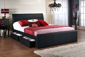 Black Leather Headboard Double by Home Design Black Leather Double Bed Frame Within 79 Appealing