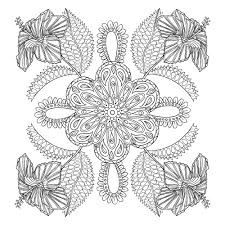 Exotic Flowers Adult Coloring Page Thumbnail