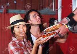 100 Asian Cravings Truck Cute Woman With Carryout Pizza From Food Stock Photo