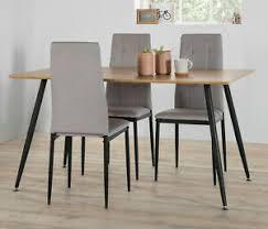 details zu essgruppe 140x80 wildeiche schwarz 4x stuhl sandgrau esszimmer set tischgruppe