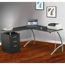Techni Mobili Computer Desk With Storage by Whalen Newport Wood And Glass L Desk Hayneedle