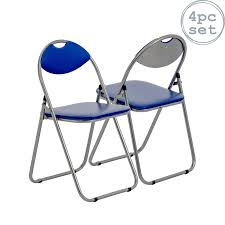 klappstuhl gepolstert blau 4 stück klappstuhl