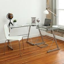 Glass Corner Desk Office Depot by Desks Z Line Belaire Glass L Shaped Computer Desk Instructions