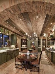 Rustic Italian Style Kitchen Using Brick Ceiling Detail And Green Vintage Cabinet Also Long Wooden Island Table