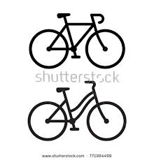 Two Bike Silhouette Icons Sporty Road Bicycle And Casual City Cruiser Male Female