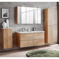 lomadox badmöbel set toskana 56 spar set 9 tlg badezimmermöbel mit doppelbecken 2x led spiegelschrank wotaneiche weiß hochglanz bxhxt ca