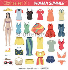 Woman Summer Clothing Vector Icon Set Panties Bra Thong Bikini Hat