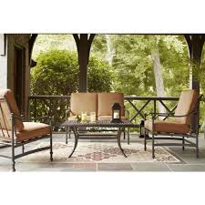 Deep Patio Cushions Home Depot by Hampton Bay Niles Park 4 Piece Patio Deep Seating Set With Cashew
