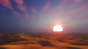 Sunset Desert Landscape With Sandy African Dunes Silhouettes Against Fantastic Big Setting Sun Background Realistic
