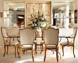Dining Room Buffet Built In Traditional With Glass Shelves White Flowers Table