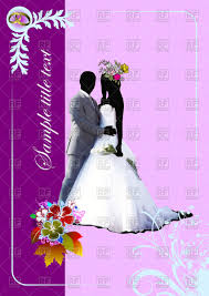 Cover for wedding album with bride and groom on violet background Royalty Free Vector Clip Art