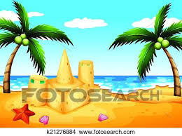 Clipart Of A Beach With Coconut Trees And Sand Castle K21276884
