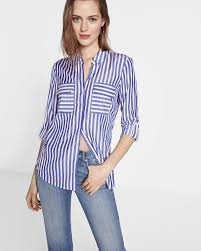 striped convertible sleeve city shirt by express express