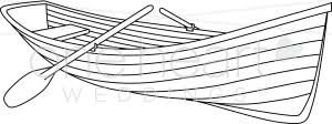 Black and White Row Boat Clipart