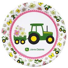 Pink John Deere Bedroom Decor by Dealer Exclusive8 Pack John Deere Pink Tractor Dinner Plates