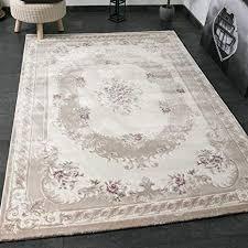 vimoda designer eleganter teppich in creme hell mit blumen verzierungen und hoch tief strukturen maße 120x170 cm
