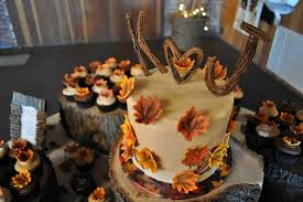 Rustic Fall Leaves Wedding Cake And Cupcakes