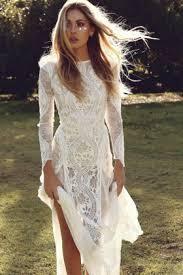 long sleeve lace short ivory modern hall wedding dress