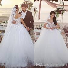Arabic Big Ball Gown Wedding Dresses f The Shoulder Nude Lined Top