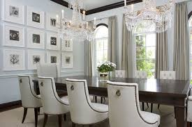 Elegant Leather White Chair With Double Crystal Chandelier For Dining Room