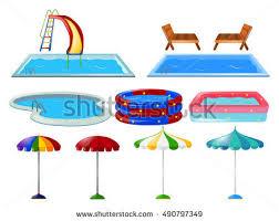 Swimming Pools And Umbrellas Illustration