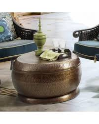 Bombay Madras Outdoor Antique Copper Coffee Brown Table In