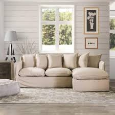 Furniture Of America Telermon Classic Slipcover L Shaped Wooden Sectional With Fabric Upholstery And Foam