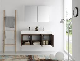 48 Inch Double Sink Vanity by Fresca Mezzo 48 Inch Walnut Wall Mounted Double Sink Modern