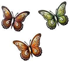 Metal Butterfly Wall Art Colored Decor Butterflies Contemporary