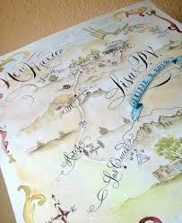 Hand Drawn Lettered And Watercolored Wedding Map By Danae Blackburn