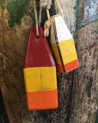Decorative Wooden Lobster Trap by Coastal Decor Set Yellow Orange Red Lobster Buoy Nautical Wooden